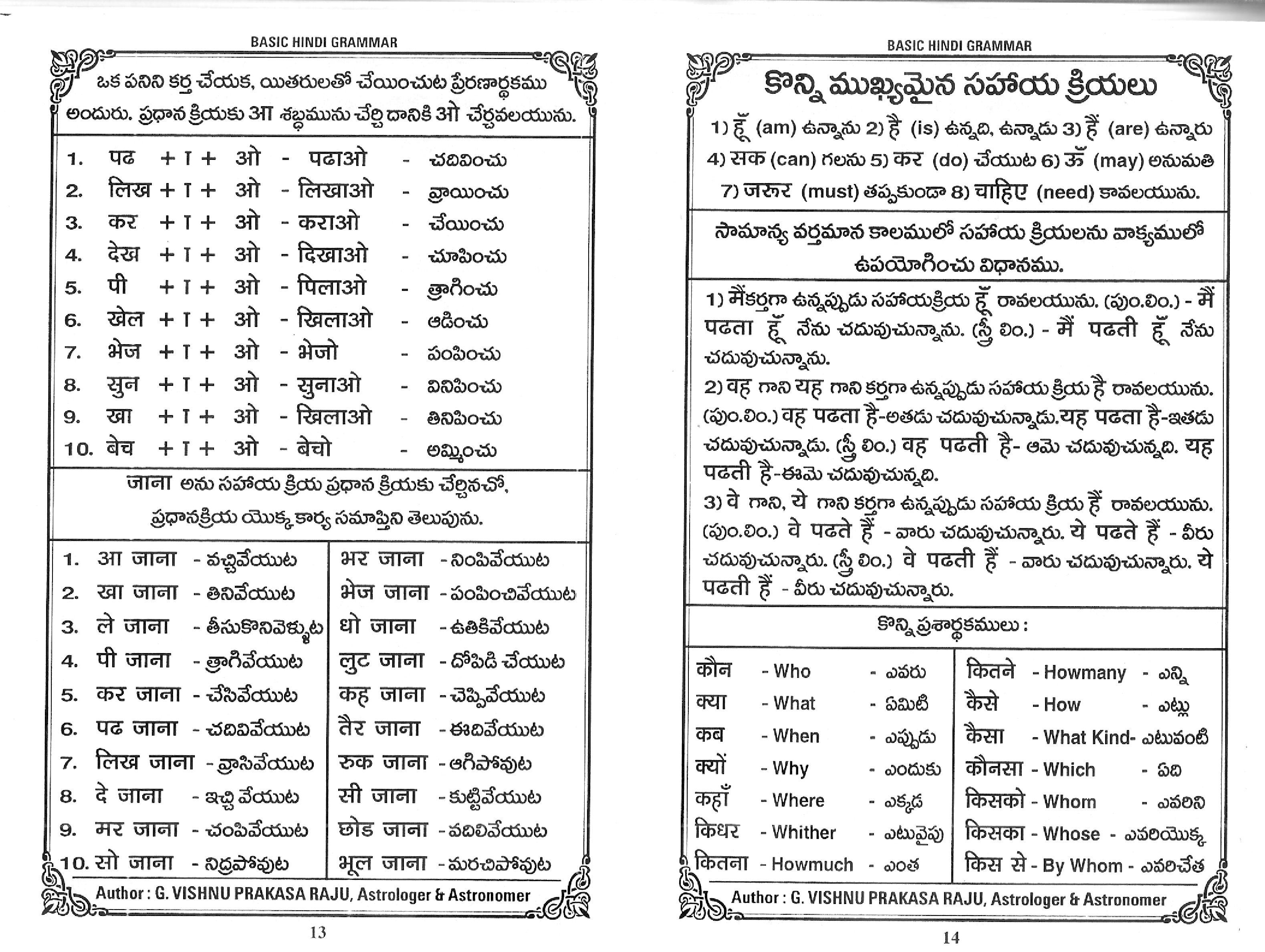 Telugu To Hindi Learning Pdf